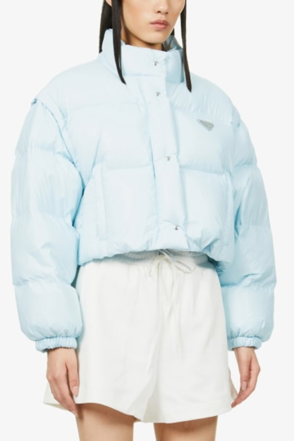 Image 3 of Prada branded cropped shell-down puffer jacket