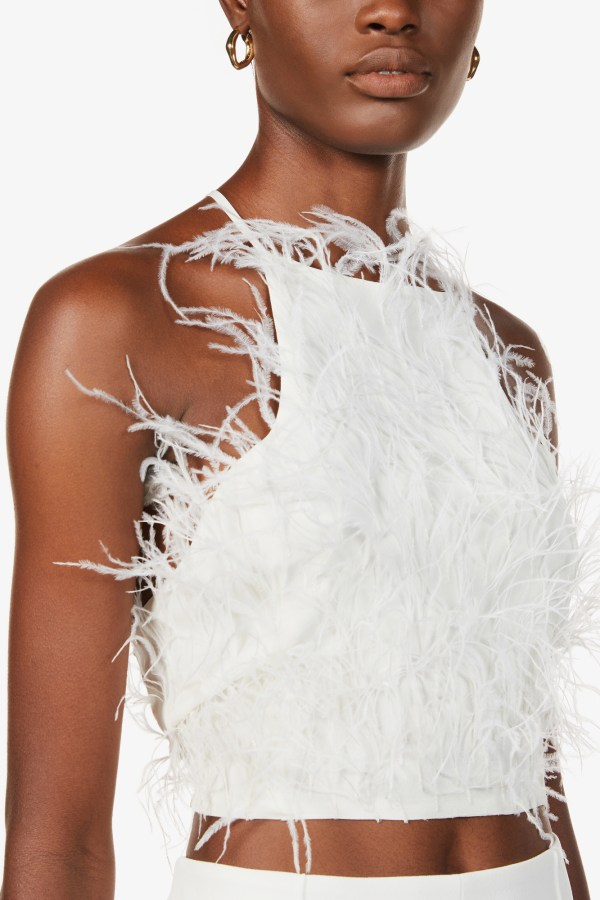 Image 4 of Cult Gaia joey feather-trim cropped crepe top