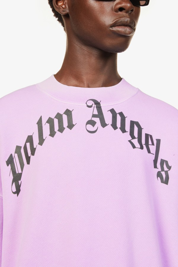 Image 5 of Palm Angels curved logo-print cotton-jersey jumper