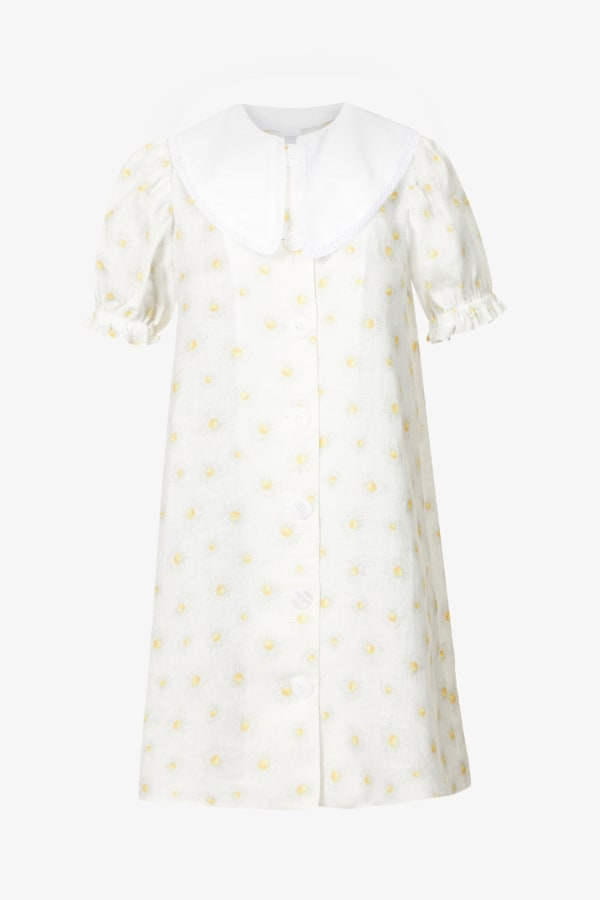 SLEEPER Marie Linen Dress in Daisies 0 Preview Images