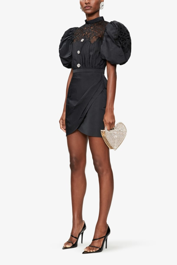 ALESSANDRA RICH PUFFED-SLEEVE EMBELLISHED POPLIN MINI DRESS 2 Preview Images