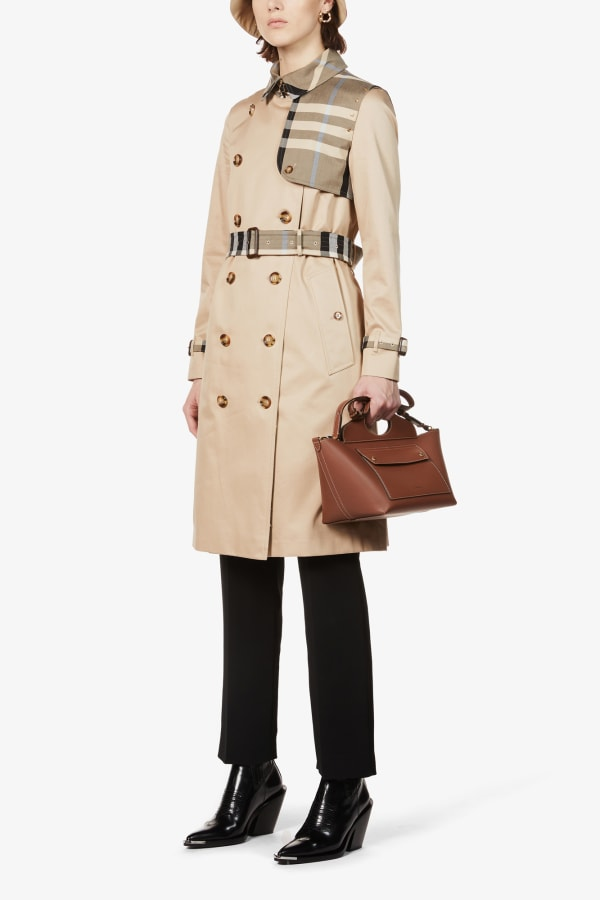 Image 2 of Burberry checked-panel cotton trench coat