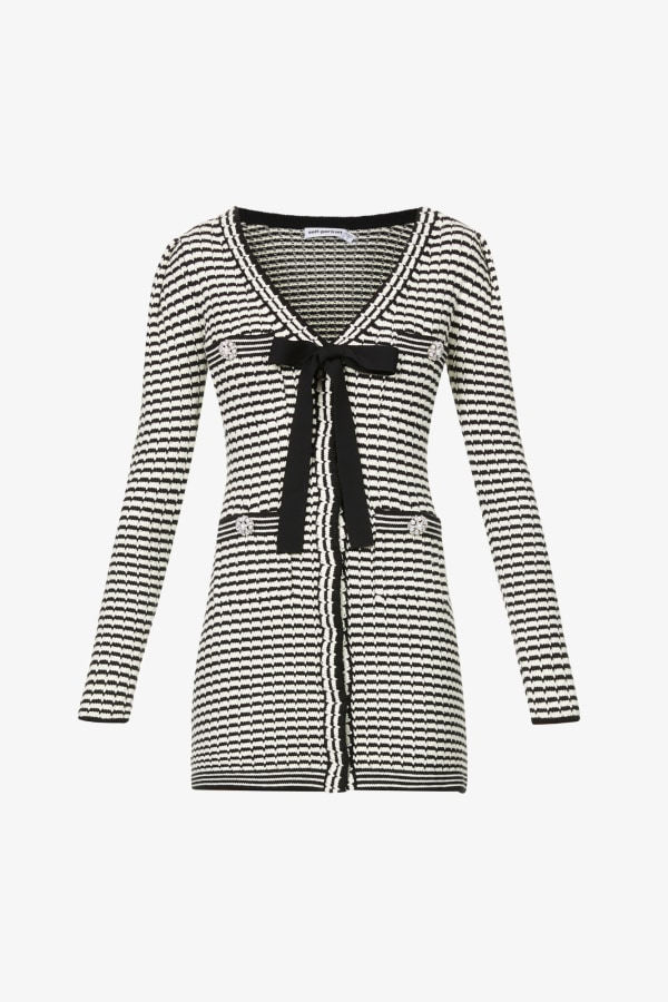 Image 1 of Self Portrait stripped button-embellished cotton-blend knitted mini dress