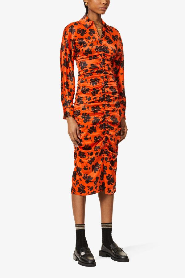 Image 5 of Ganni floral-print ruched silk-satin midi dress