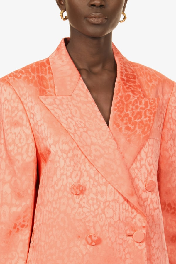 Image 5 of Dundas double-breasted leopard-print satin blazer