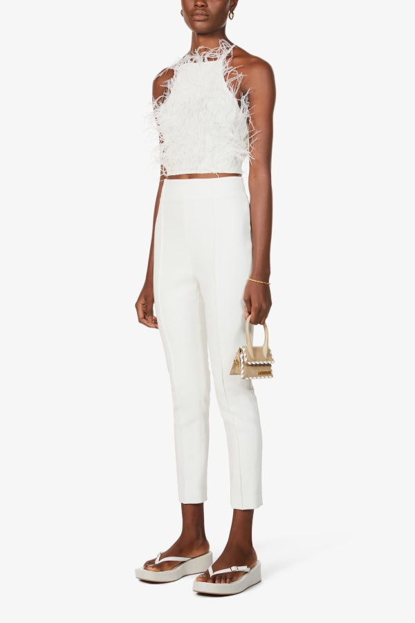 Image 2 of Cult Gaia joey feather-trim cropped crepe top