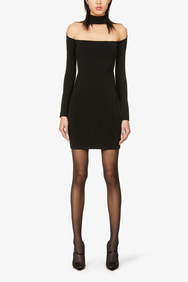 Image 2 of Mugler sheer-panel stretch-woven mini dress