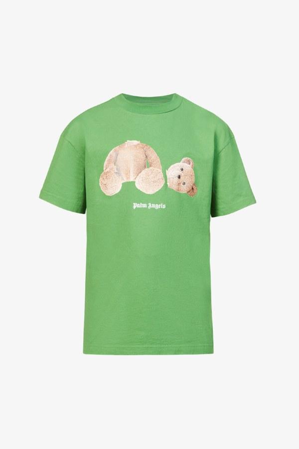 Image 1 of Palm Angels bear-print crewneck cotton-jersey t-shirt