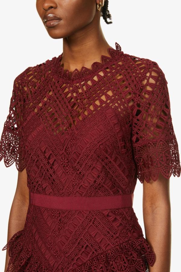 Image 5 of Self Portrait scalloped-lace midi dress