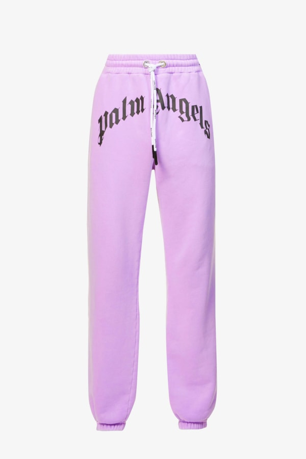 Image 1 of Palm Angels logo-print relaxed-fit cotton-jersey jogging bottoms