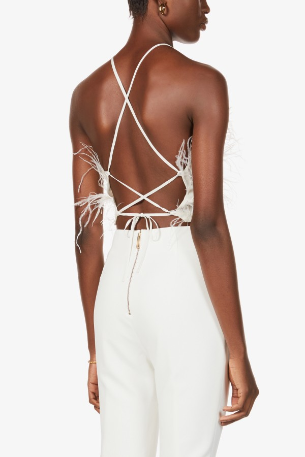 Image 3 of Cult Gaia joey feather-trim cropped crepe top