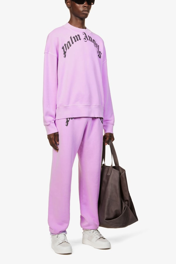 Image 4 of Palm Angels logo-print relaxed-fit cotton-jersey jogging bottoms
