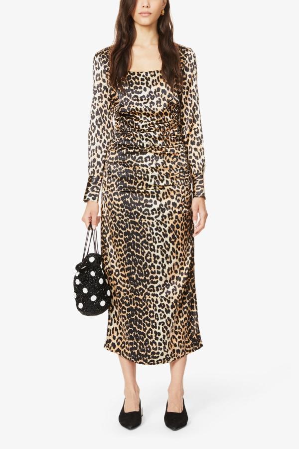 Image 6 of Ganni leopard-print ruched stretch-silk midi dress