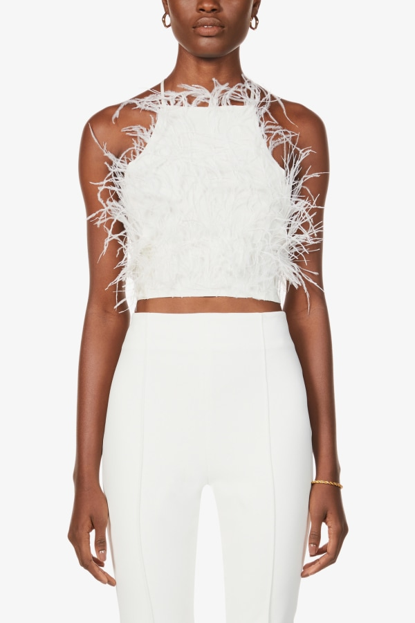 Image 5 of Cult Gaia joey feather-trim cropped crepe top