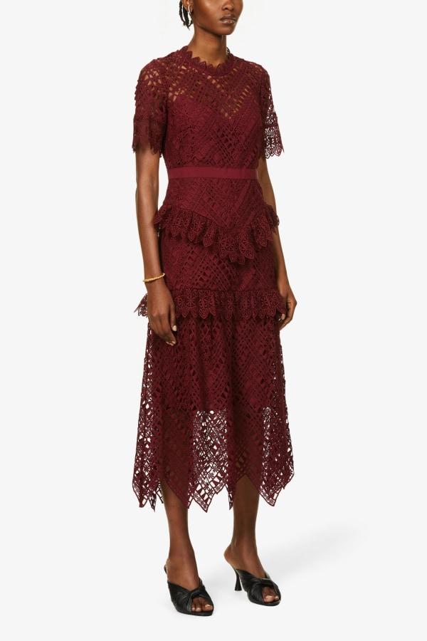 Image 3 of Self Portrait scalloped-lace midi dress