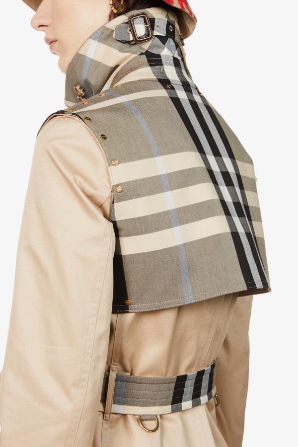 Image 5 of Burberry checked-panel cotton trench coat