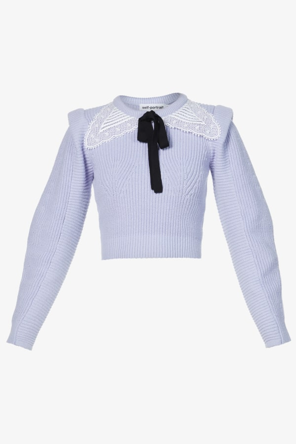 Image 1 of Self Portrait embroidered collar-embellished cotton and wool-blend jumper