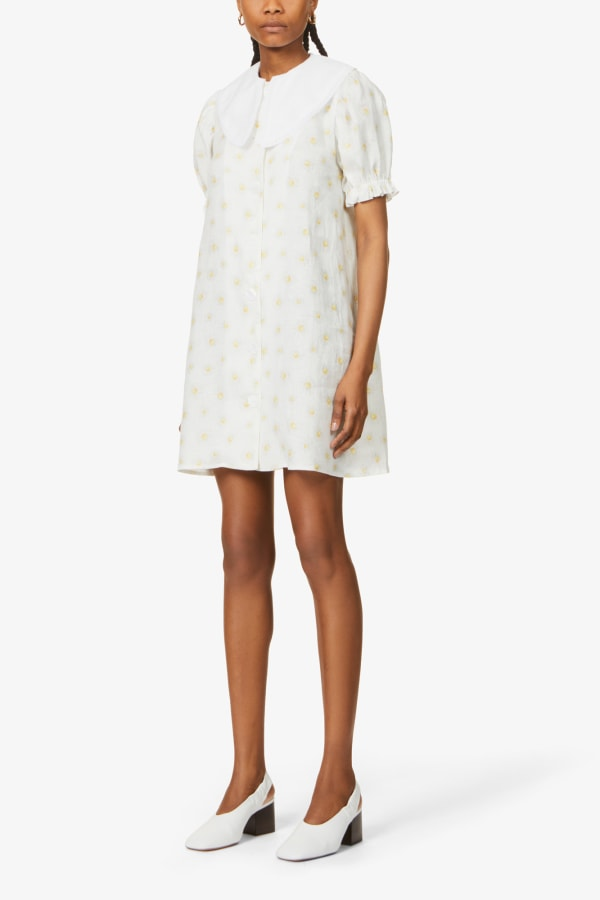 SLEEPER Marie Linen Dress in Daisies 2 Preview Images