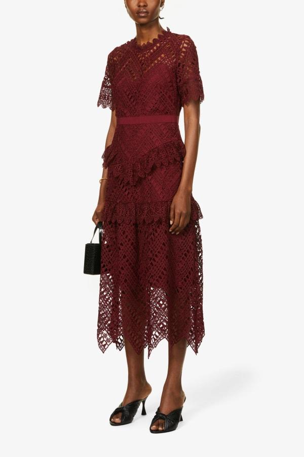 Image 2 of Self Portrait scalloped-lace midi dress