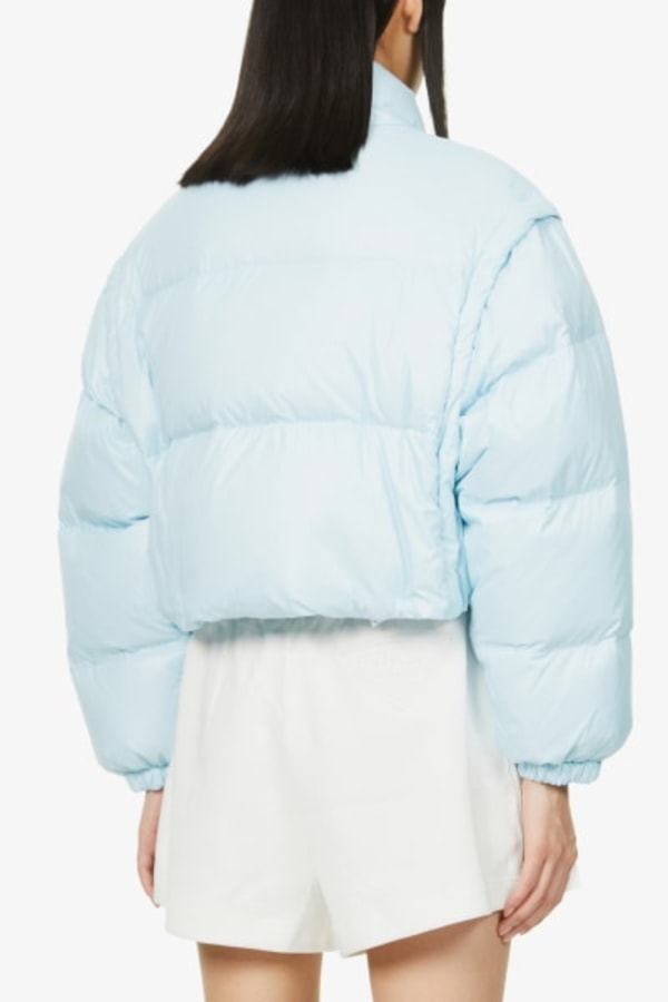 Image 4 of Prada branded cropped shell-down puffer jacket