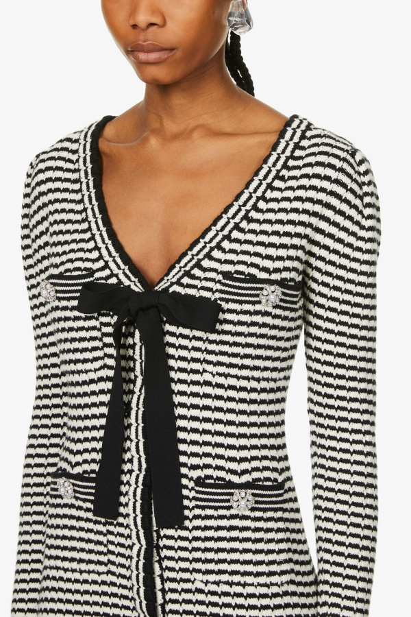 Image 4 of Self Portrait stripped button-embellished cotton-blend knitted mini dress