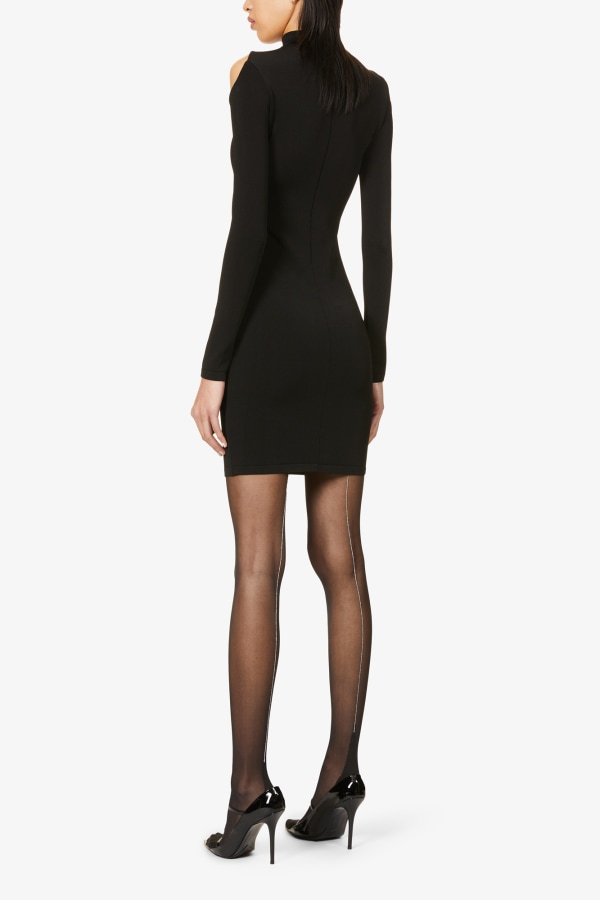 Image 4 of Mugler sheer-panel stretch-woven mini dress