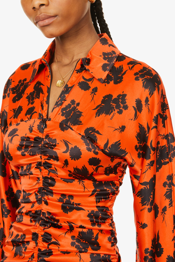 Image 4 of Ganni floral-print ruched silk-satin midi dress