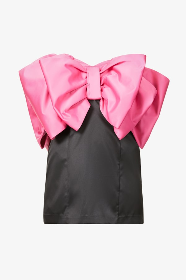 Image 1 of Rotate Birger Christensen natalie bow-panel recycled-polyester mini dress