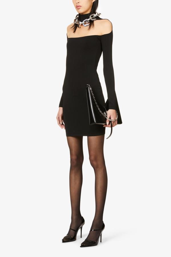 Image 3 of Mugler sheer-panel stretch-woven mini dress