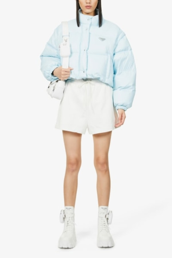Image 2 of Prada branded cropped shell-down puffer jacket