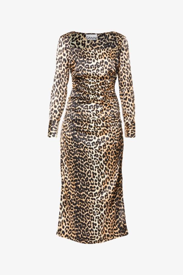 Image 1 of Ganni leopard-print ruched stretch-silk midi dress