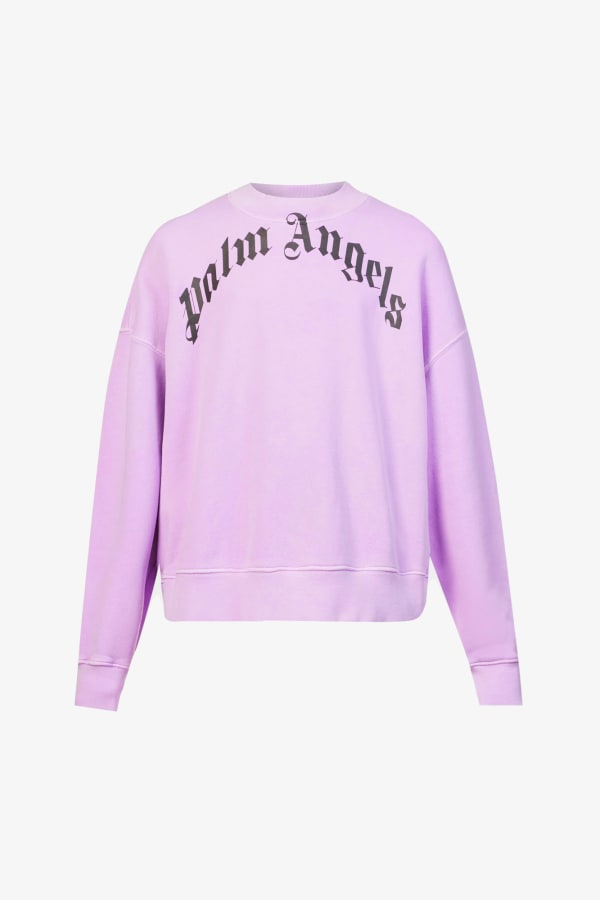 Image 1 of Palm Angels curved logo-print cotton-jersey jumper