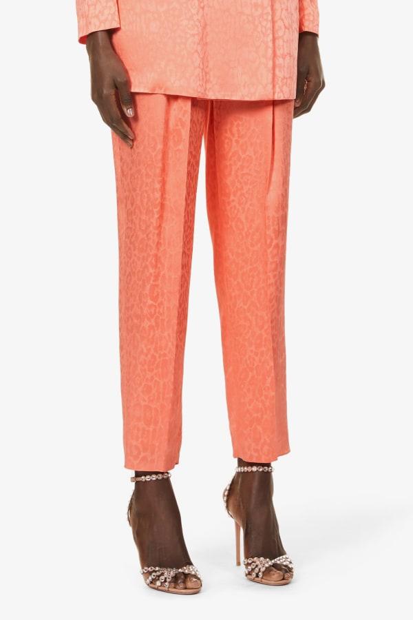 Image 2 of Dundas satin leopard-print wide-leg trousers