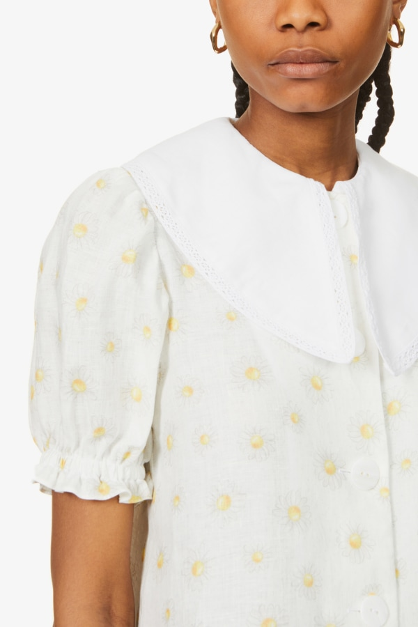 SLEEPER Marie Linen Dress in Daisies 4 Preview Images