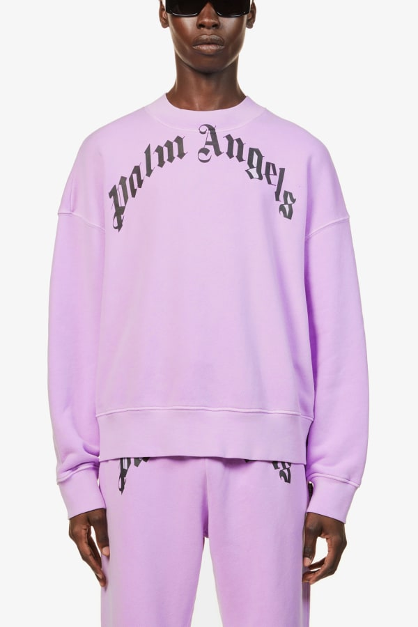 Image 3 of Palm Angels curved logo-print cotton-jersey jumper