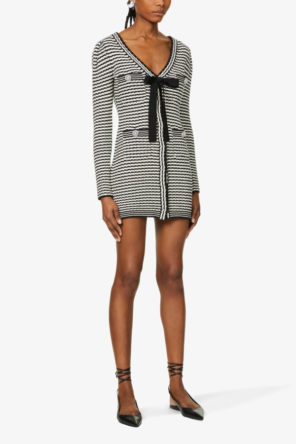 Image 2 of Self Portrait stripped button-embellished cotton-blend knitted mini dress