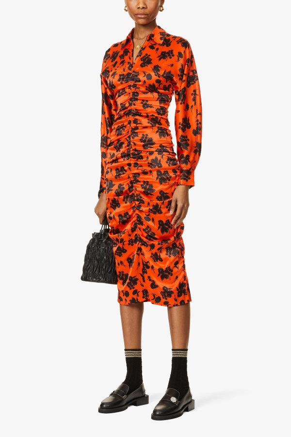 Image 2 of Ganni floral-print ruched silk-satin midi dress