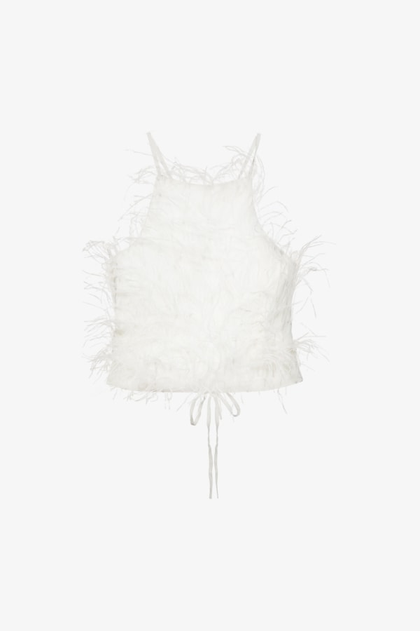 Image 1 of Cult Gaia joey feather-trim cropped crepe top