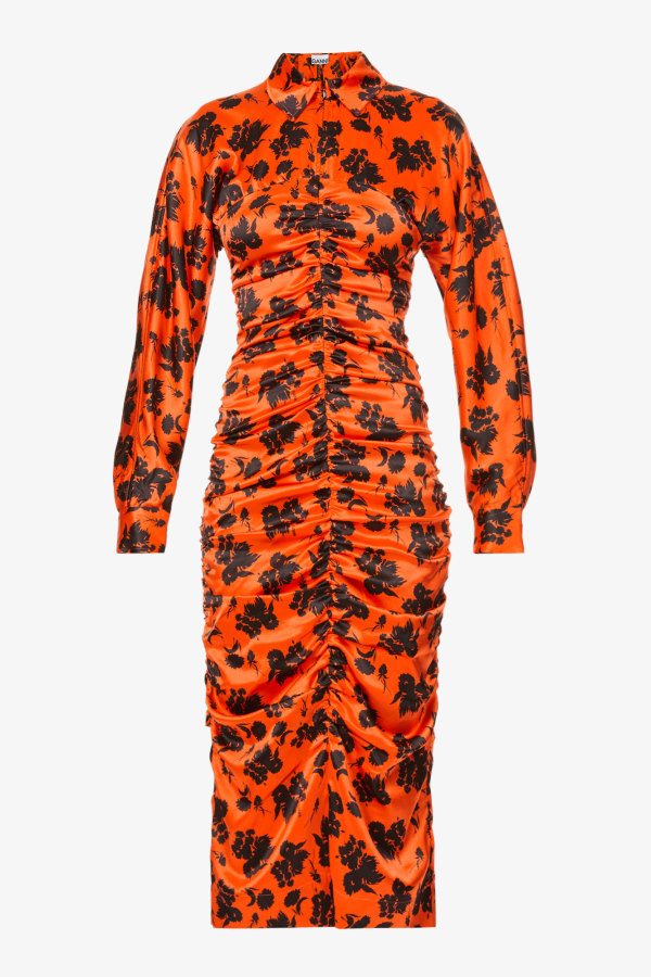 Image 1 of Ganni floral-print ruched silk-satin midi dress