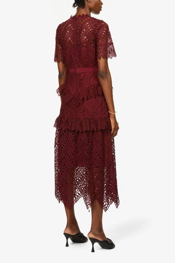 Image 4 of Self Portrait scalloped-lace midi dress