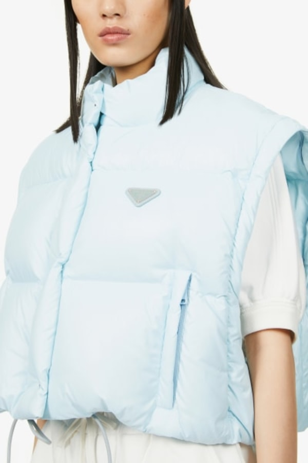 Image 5 of Prada branded cropped shell-down puffer jacket