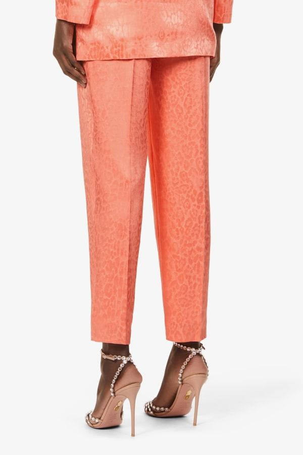 Image 4 of Dundas satin leopard-print wide-leg trousers