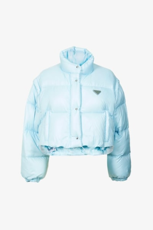 Image 1 of Prada branded cropped shell-down puffer jacket