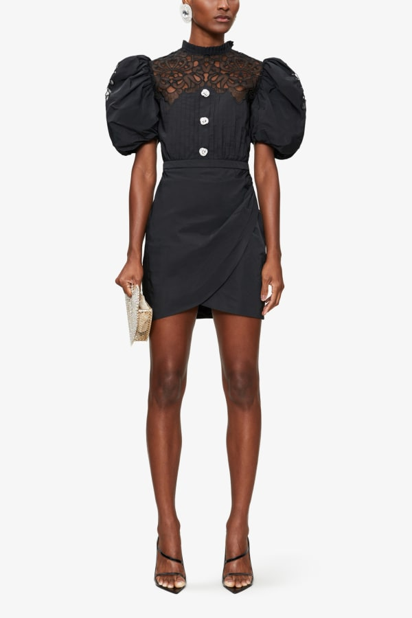 ALESSANDRA RICH PUFFED-SLEEVE EMBELLISHED POPLIN MINI DRESS 1 Preview Images