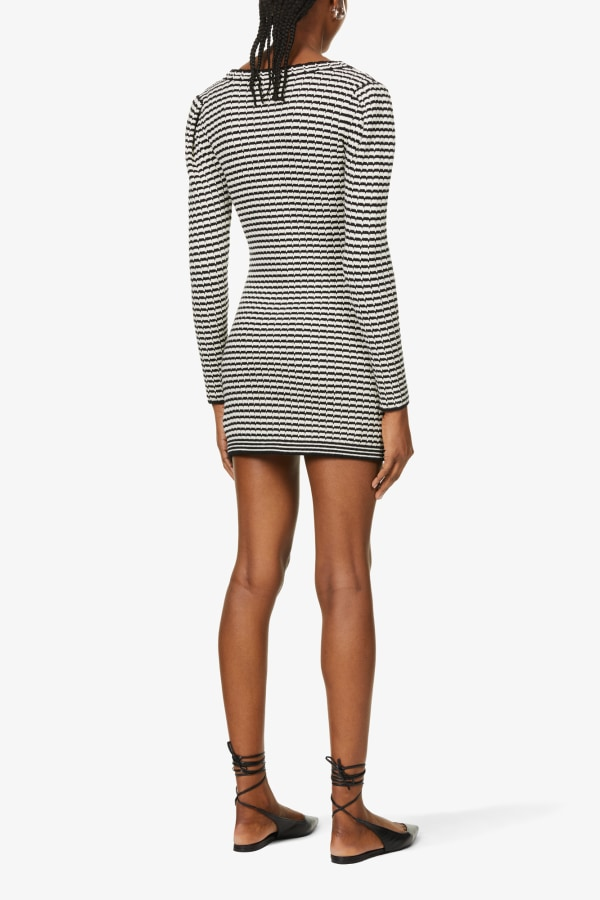 Image 5 of Self Portrait stripped button-embellished cotton-blend knitted mini dress