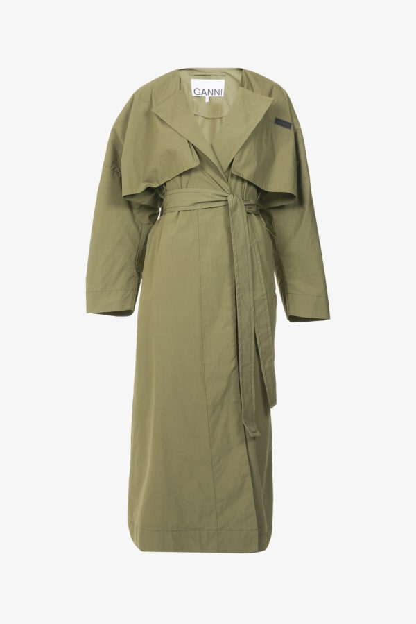 Image 1 of Ganni stretch-canvas trench coat