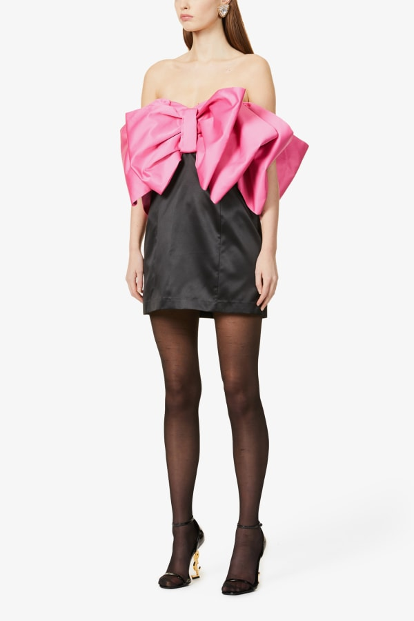 Image 2 of Rotate Birger Christensen natalie bow-panel recycled-polyester mini dress