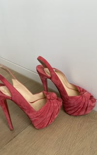 Christian Louboutin Suede pink summer shoes 2 Preview Images