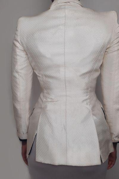 Alexander McQueen Cream & Black Tuxedo Jacket Bl 3