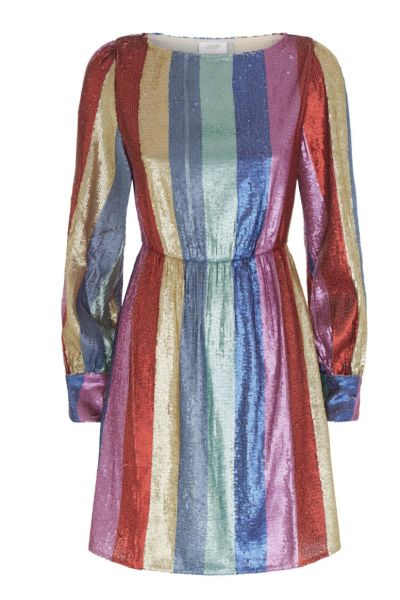 RIXO London Sequin rainbow dress